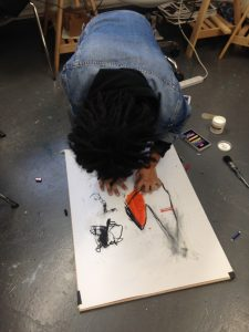 Art student working with pastels